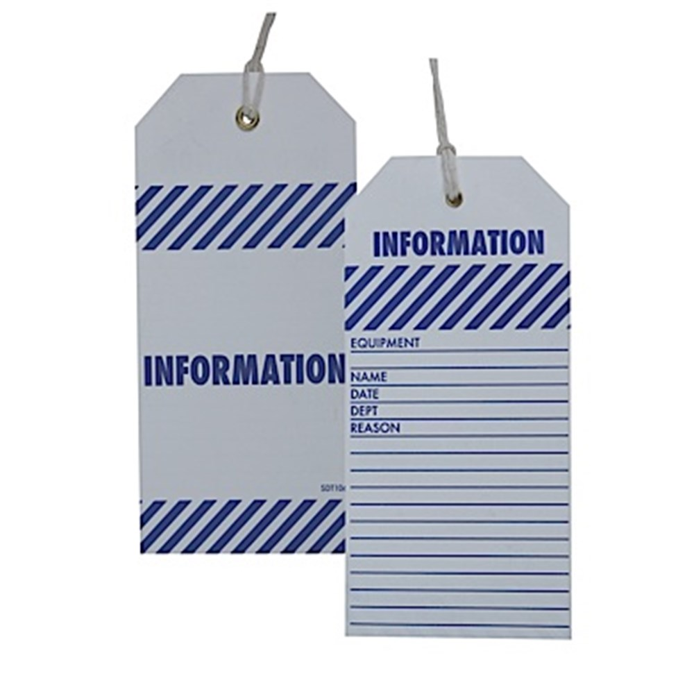 Printed Vinyl Tags - Information 75mm x 150mm