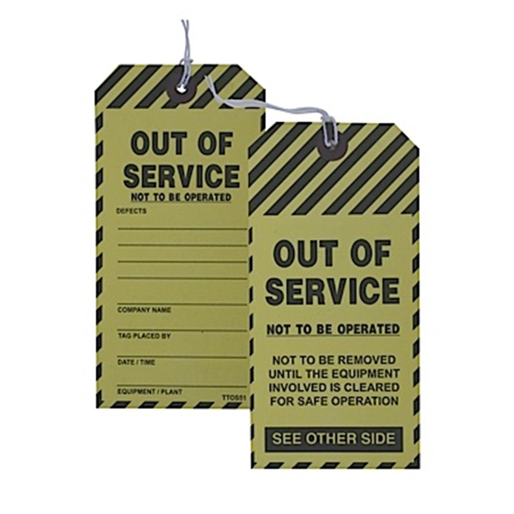 Printed Cardboard Tags - Out Of Service 80mm x 160mm
